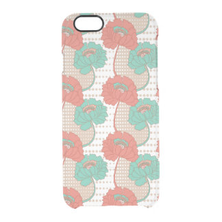 Retro Poppy Pattern Clear iPhone 6/6S Case