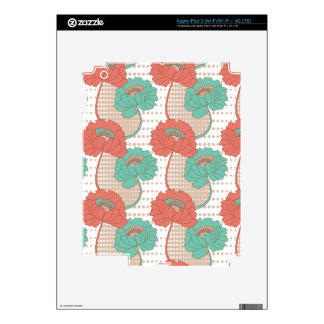 Retro Poppy Pattern Decals For iPad 3