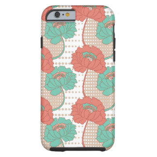 Retro Poppy Pattern Tough iPhone 6 Case