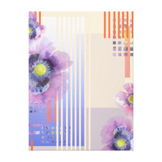 Retro Poppy Watercolor Art Gallery Wrap Canvas