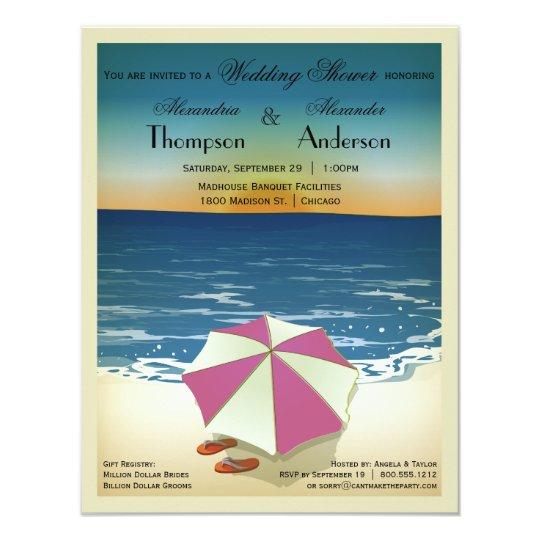 Retro Post Card Inspired Beach Scene Invite