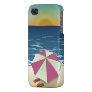 Retro Post Card Inspired Beach Scene iPhone 4 Cover