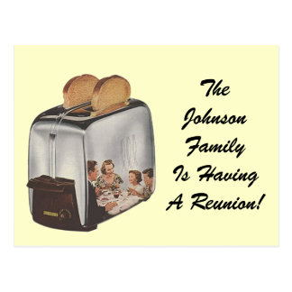 Retro Postcard Family Reunion Reflection Toaster