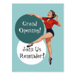 Retro Postcard Happy Lady Grand Opening Announce