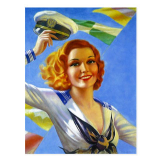 Retro Postcard Sailor's Gal Pin-Up Girl Sailing