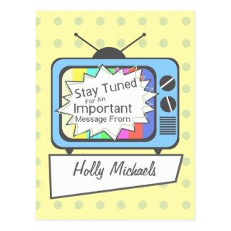 Retro Postcard: Stay Tuned....Blue TV Set Postcard