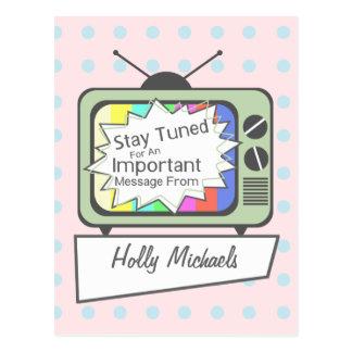 Retro Postcard: Stay Tuned....Green TV Set Postcard