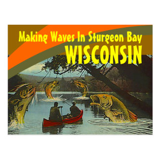 Retro Postcard Sturgeon Bay Wisconsin Exaggeration