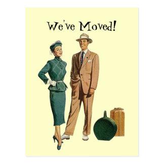 Retro Postcard Vintage Couple Announce We ve Moved
