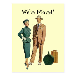 Retro Postcard Vintage Couple Announce We've Moved