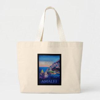 Retro Poster Amalfi Coast italy Large Tote Bag