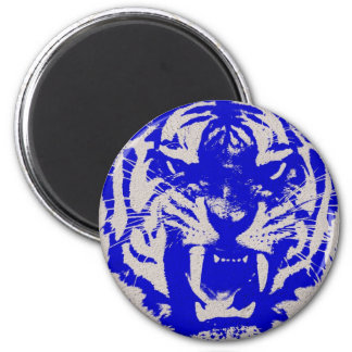 Retro Poster Art Trendy Blue Tiger 2 Inch Round Magnet