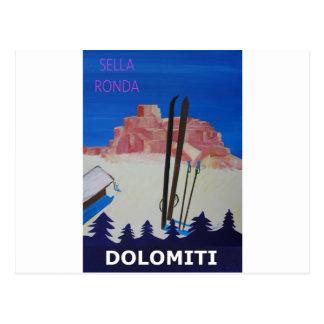 Retro Poster Dolomiti Italy at Sella Ronda Postcard