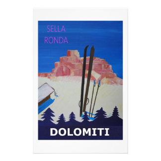 Retro Poster Dolomiti Italy at Sella Ronda Stationery