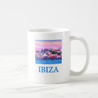 Retro Poster Ibiza Old Town and Harbour Coffee Mug