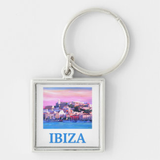 Retro Poster Ibiza Old Town and Harbour Keychain