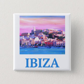 Retro Poster Ibiza Old Town and Harbour Pinback Button