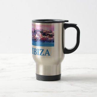 Retro Poster Ibiza Old Town and Harbour Travel Mug