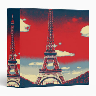 retro poster Vintage France Paris Effiel Tower 3 Ring Binder
