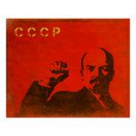 Retro Poster with Vintage Lenin USSR Print