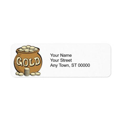 retro pot of gold return address label
