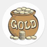 retro pot of gold round stickers
