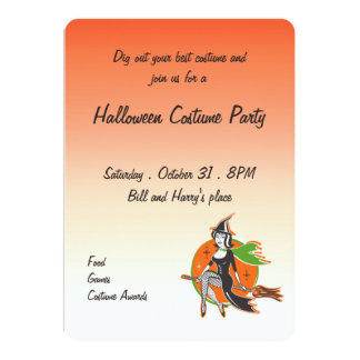 Retro Pretty Halloween Witch on Her Broom Card