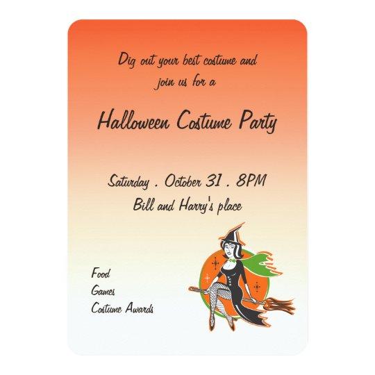 retro pretty halloween witch on her broom invitation zazzle com