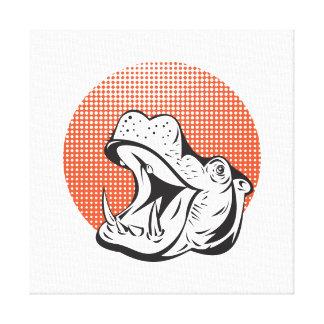 Retro principal del Hippopotamus Lienzo Envuelto Para Galerías