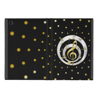 Retro Printed Gold and Silver effect Musical Notes Case For iPad Mini