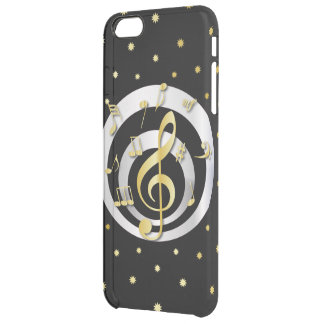 Retro Printed Gold and Silver effect Musical Notes Clear iPhone 6 Plus Case
