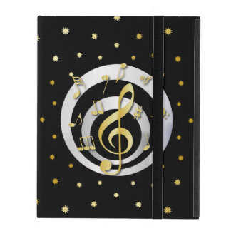 Retro Printed Gold and Silver effect Musical Notes iPad Case