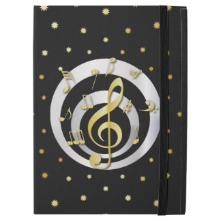 "Retro Printed Gold and Silver effect Musical Notes iPad Pro 12.9"" Case"