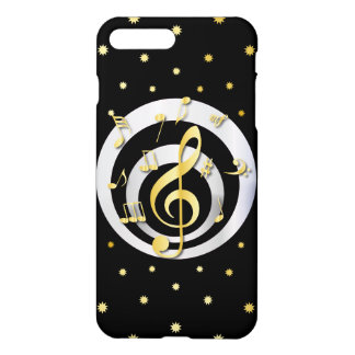 Retro Printed Gold and Silver effect Musical Notes iPhone 8 Plus/7 Plus Case