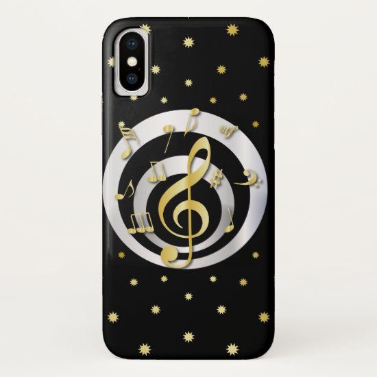 Retro Printed Gold and Silver effect Musical Notes iPhone XS Case