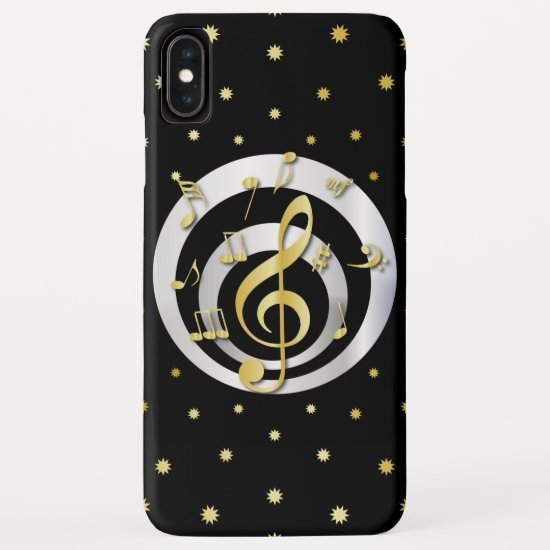 Retro Printed Gold and Silver effect Musical Notes iPhone XS Max Case