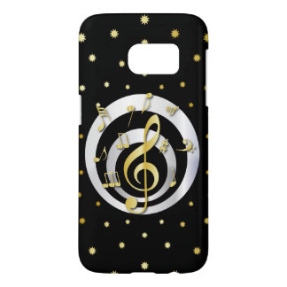 Retro Printed Gold and Silver effect Musical Notes Samsung Galaxy S7 Case