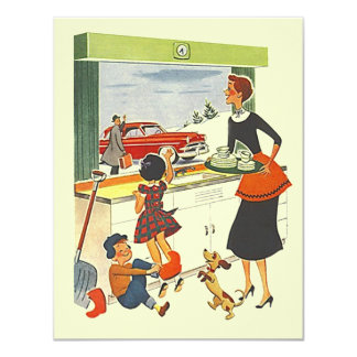 """Retro Promotion or Off To New Job Party Invitation 4.25"""" X 5.5"""" Invitation Card"""