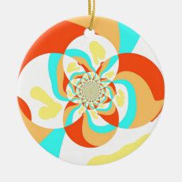 Retro Psychedelic Abstract design Ceramic Ornament