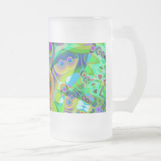 Retro Psychedelic Abstract Frosted Glass Beer Mug