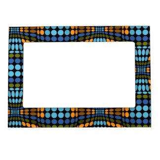 Retro psychedelic blue and orange dots magnetic picture frame