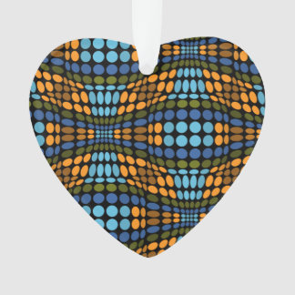 Retro psychedelic blue and orange dots ornament