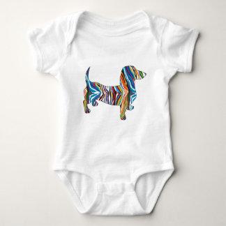 Retro Psychedelic Dachshund Baby Bodysuit