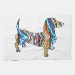 Retro Psychedelic Dachshund Hand Towels