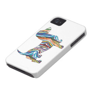 Retro Psychedelic Dachshund iPhone 4 Cover