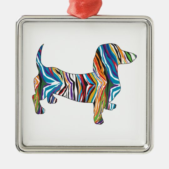 Retro Psychedelic Dachshund Metal Ornament