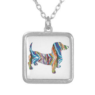 Retro Psychedelic Dachshund Silver Plated Necklace