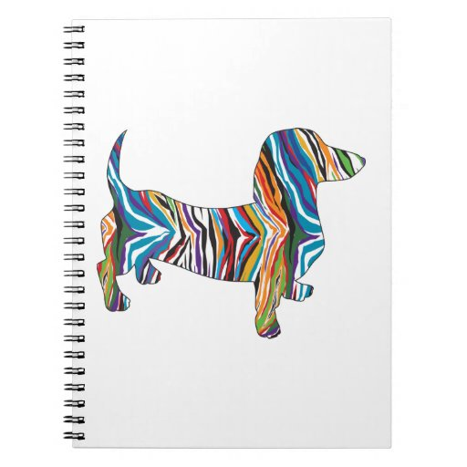 Retro Psychedelic Dachshund Spiral Note Book