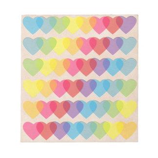 Retro Psychedelic Rainbow Hearts Notepad