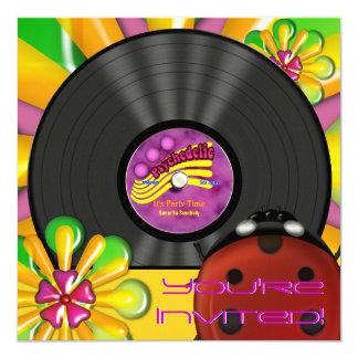 Retro Psychedelic Vinyl Record Party Invitations